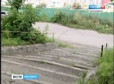 На улице Киренского разрушается пешеходная лестница